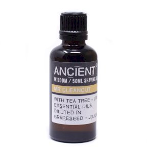 Ancient Wisdom. Essential Oil, MR CLEAN CUT SHAVING OIL MO-12,lime, tea tree, grapeseed oil