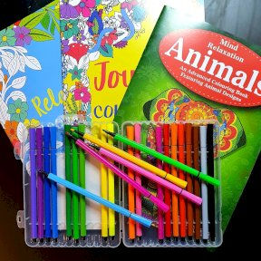 Therapeutic Adult Colouring Books, Relaxing, Joyful, Animal, 24 fibre pens Easynote, set. P2192A, P2192A
