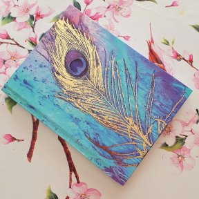 Size: 20.3 x 15.2cm (8 x 6 inches) 80 sheets of 110gsm paper. Peacock Sketchbook, journal. therapeutic writing drawing book, blue, purple, gold foil,  Product code: 6391281000