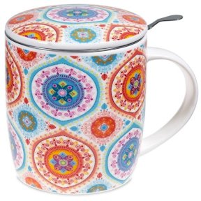 Tea Infuser Bone China Mug - Mandala Blue
