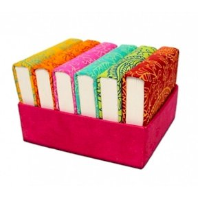 Set of 6 Handmade Notebooks in a Storage Case, 1885. Hot pink, Red, Orange, Green, Blue, Yellow. Plain paper, journal.