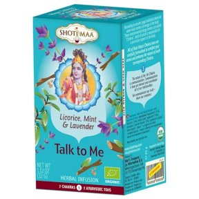 Shoti Maa Organic Herbal Tea Bags supporting the 5th Throat Chakra, Blue, Ginger, fennel, cinnamon, harmonise, 2256