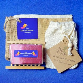 Shea Butter & Olive Oil Handmade Soap, with Hemu Wood Soap Dish, Rami Soap Bag and Gift Bag.