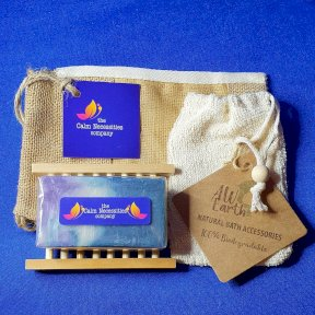 Herb of Grace & Olive Oil Handmade Soap, with Hemu Wood Soap Dish, Rami Soap Bag and Gift Bag.