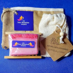 Coconut Dream Handmade Soap, with Hemu Wood Soap Dish, Rami Soap Bag and Gift Bag.