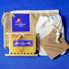 Slice of Sunshine Citrus Handmade Soap, with Hemu Wood Soap Dish, Rami Soap Bag and Gift Bag.