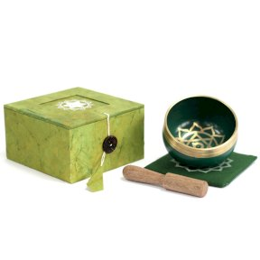 Ancient Wisdom. Tibetan Singing Bowl, Boxed, Bowl, Cushion, Wooden Stick, Chakra Symbol, Heart, Green, TOBS-06D