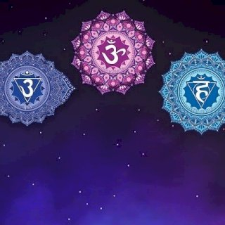 Chakra Symbols, starry sky, root, sacral, solar plexus, heart, throat. third eye, crown. Chakra balancing and healing.